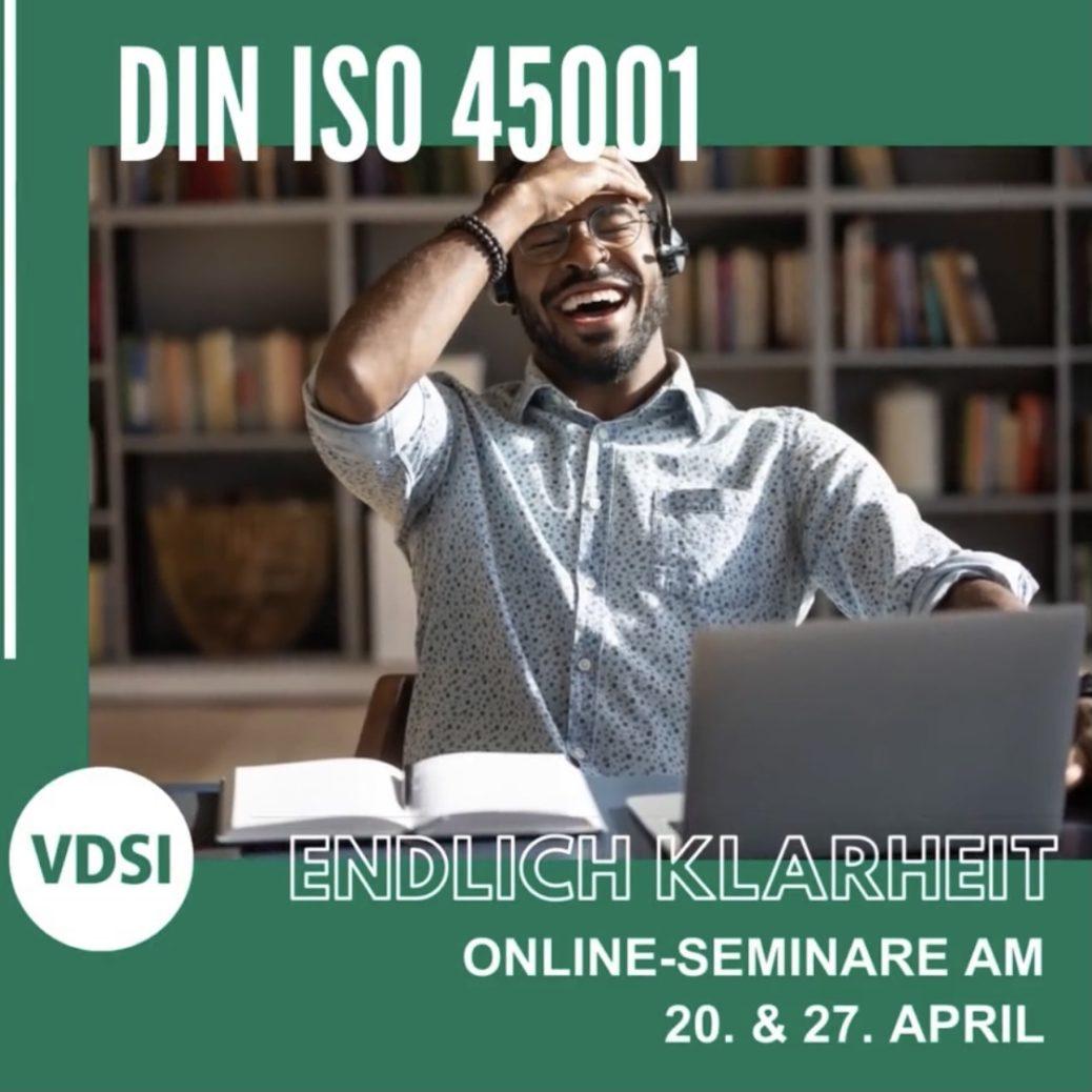 Arbeitsschutz-Managementsystem: VDSI-Online-Seminar überDIN ISO 45001